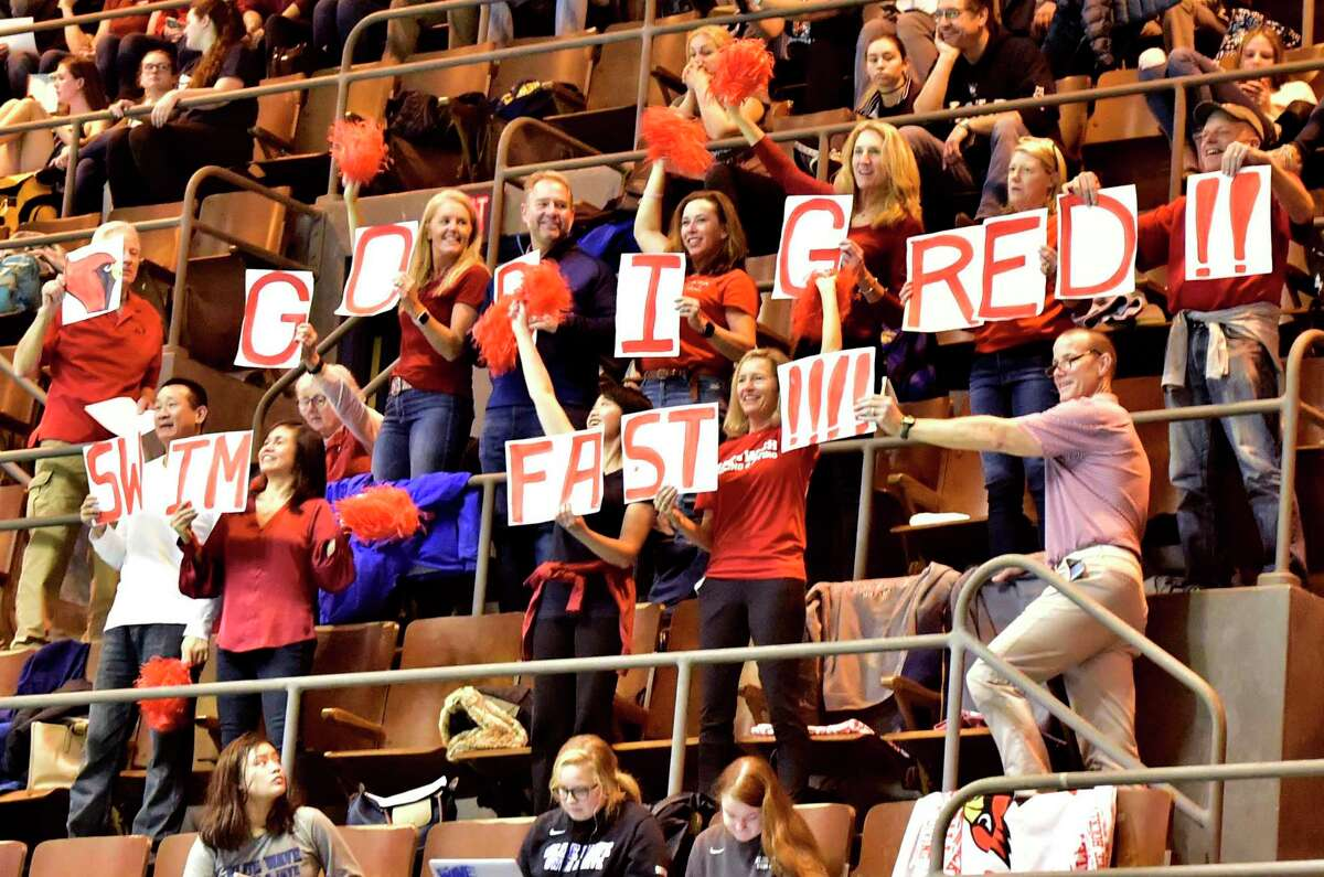 New Haven, Connecticut -Sunday, November 24, 2019: Greenwich H.S. fans cheer for their Cardinals during the CIAC State Open Girls Swimming Championship Sunday at Yale University in New Haven.