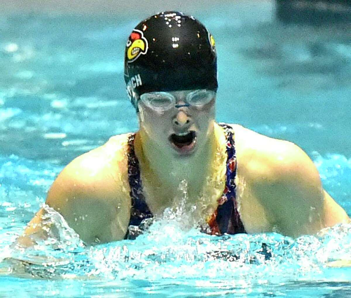 Meghan Lynch of Greenwich High swims the breaststroke to a state record in the 200 Yard IM during the CIAC State Open Girls Swimming Championship on Nov. 24 at Yale University in New Haven. Lynch is a senior co-captain.