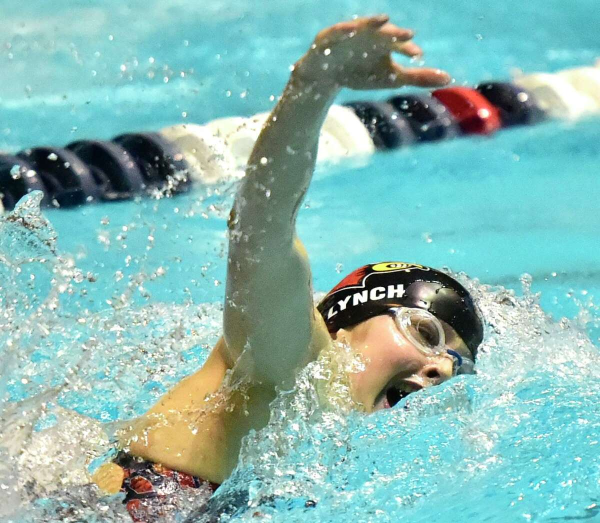 Meghan Lynch of Greenwich High swims the freestyle to a state record in the 200 Yard IM during the CIAC State Open Girls Swimming Championship on Nov. 24 at Yale University in New Haven. Lynch is a senior co-captain.