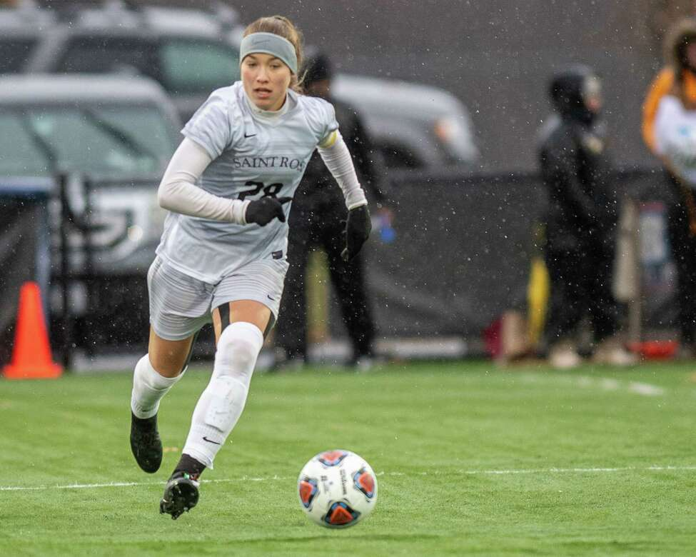 Saint Rose forward/midfielder Nina Predanic, who did not play in the first round due to an injury, during the second round of the NCAA Division II Womena€™s Soccer Championship against Stonehill at the Plumeri Sports Complex in Albany New York on Sunday, Nov. 24, 2019 (Jim Franco/Special to the Times Union.)