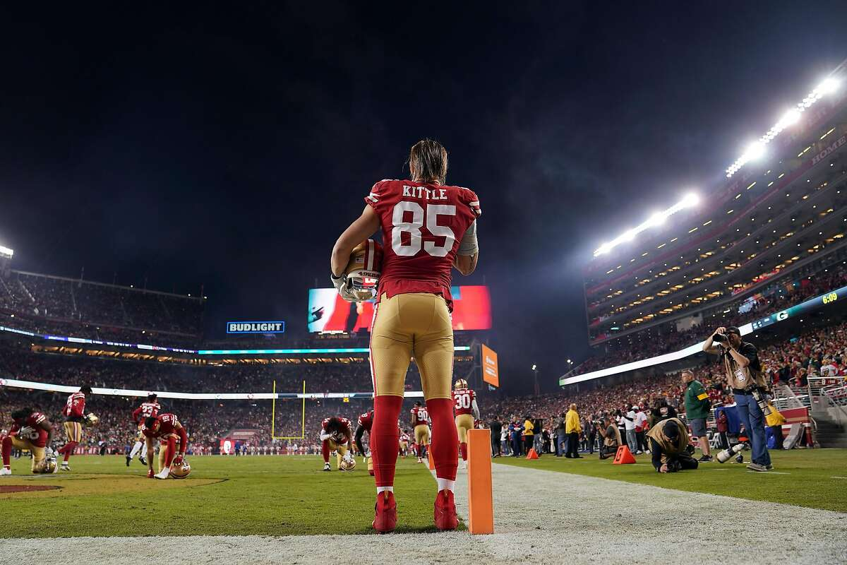 Tight end George Kittle #85 of the San Francisco 49ers takes the field during player introductions prior to the game against the Green Bay Packers at Levi's Stadium on November 24, 2019 in Santa Clara, California.