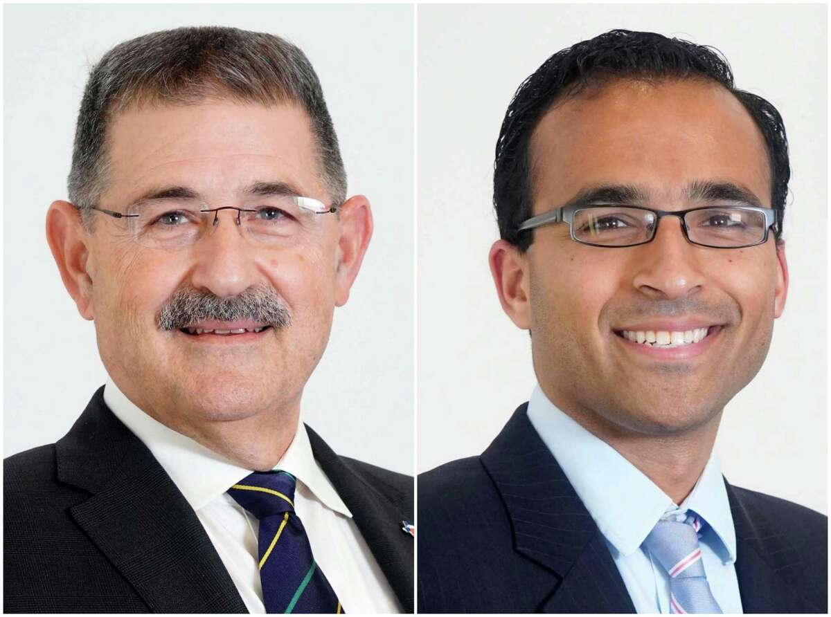 Mike Knox, left, and Raj Salhotra, right, are candidates for Houston City Council At-Large Position 1.