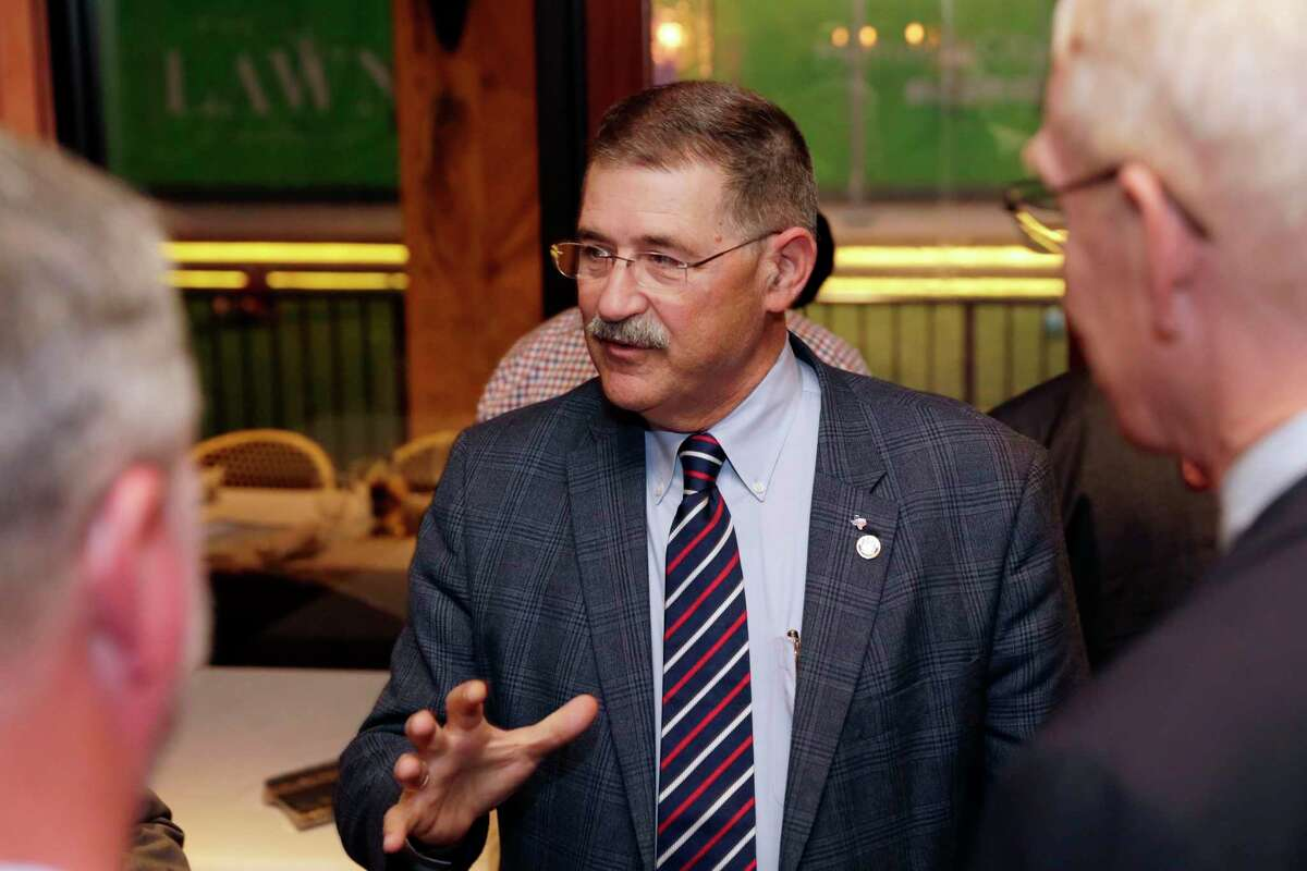 District 1 at large city councilman Mike Knox speaks with supporters during a fundraiser for his runoff election against opponent Raj Salhotra at Ciro Italian Grill Monday, Nov. 18, 2019 in Houston, TX.