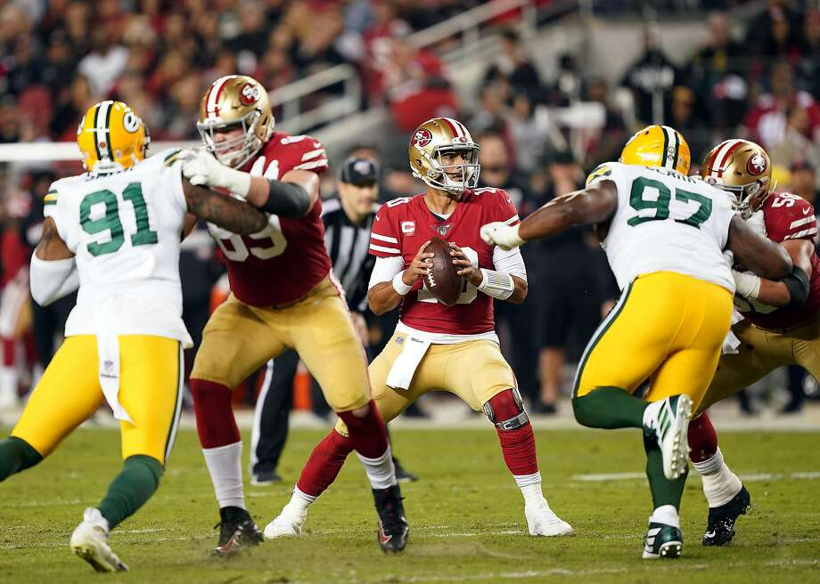 Quarterback Jimmy Garoppolo #10 of the San Francisco 49ers looks to pass during the first half of the game against the Green Bay Packers at Levi's Stadium on November 24, 2019 in Santa Clara, California. Photo: Thearon W. Henderson, Getty Images