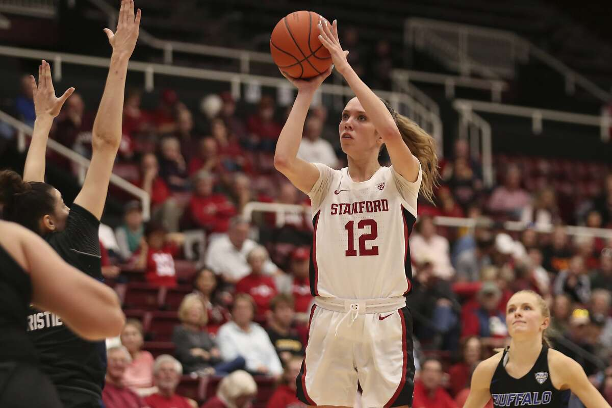 Stanford forward Lexie Hull (12) shoots against Buffalo during the second half of an NCAA college basketball game in Stanford, Calif., Sunday, Nov. 24, 2019. (AP Photo/Jed Jacobsohn)