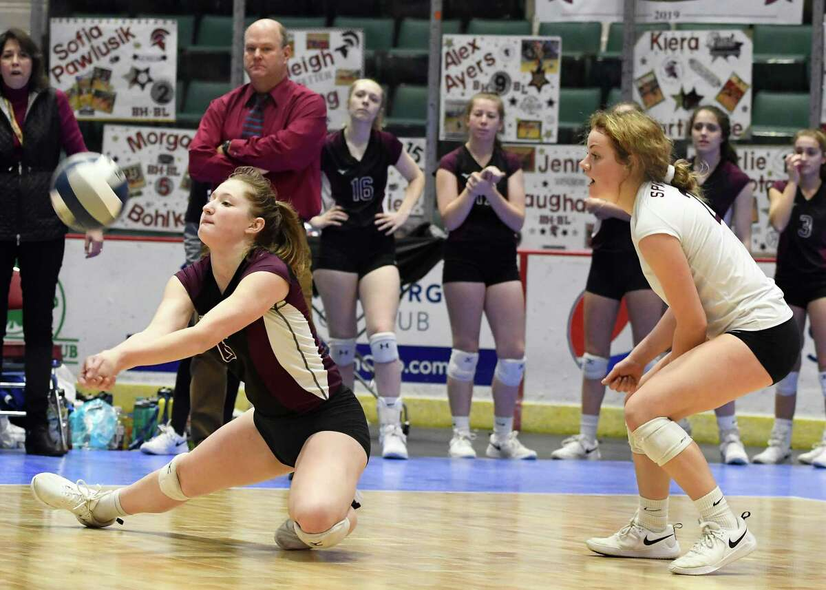 Burnt Hills's Hannah Shell slides to bump the ball during the Class A State Championship against West Irondequoit on Sunday, Nov. 24, 2019, at Cool Insuring Arena in Glens Falls, N.Y. (Jenn March, Special to the Times Union)