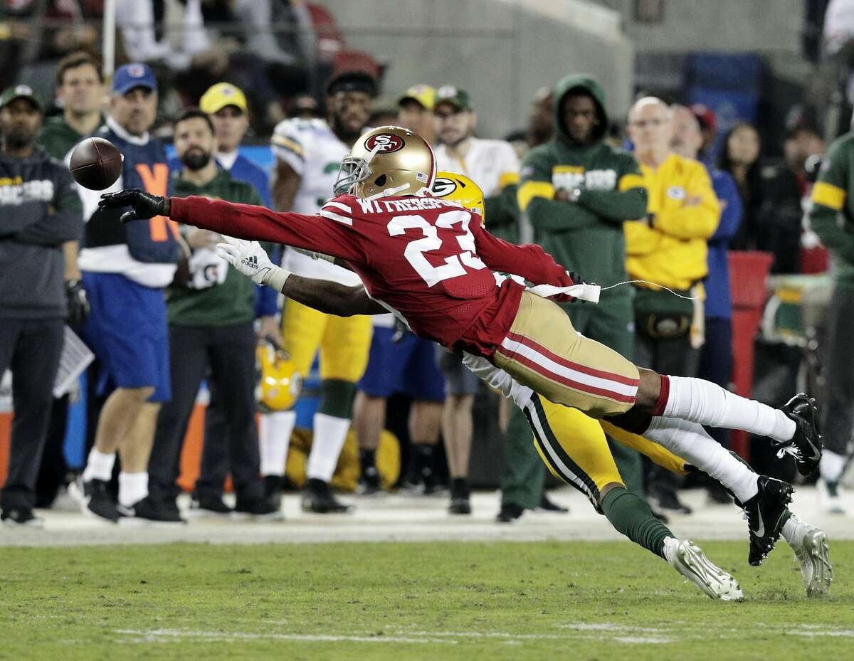 Ahkello Witherspoon (23) defends against a pass intended for Aaron Jones (33) In the first half as the San Francisco 49ers played the Green Bay Packers at Levi's Stadium in Santa Clara, Calif., on Sunday, November 11/24/19, 2019.