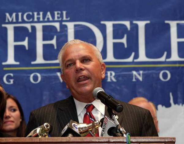 Lt. Governor Michael Fedele, speaks to members of the press, family and friends at the Italian Community Center in Stamford after losing the Republican primary for Governor of Connecticut , August 10, 2010. Photo: Chris Ware / The News-Times