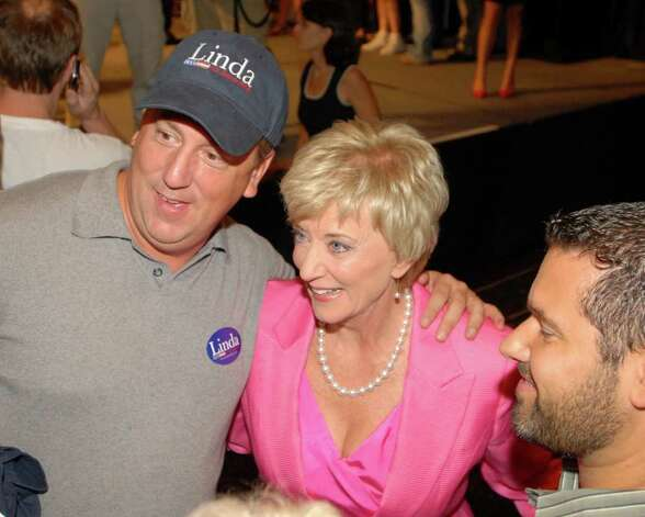 Republican candidate for the Senate Linda McMahon, interacts with the crowd as she celebrates her victory in the  primary for U.S. Senate, Tuesday evening, August 10, 2010, at the Crowne Plaza Hotel, Cromwell, Connecticut. Photo: Bob Luckey / Greenwich Time