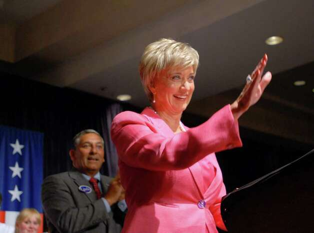 Republican candidate for the Senate Linda McMahon, waves to the crowd as she celebrates her victory in the republican primary for U.S. Senate, Tuesday evening, August 10, 2010, at the Crowne Plaza Hotel, Cromwell, Connecticut. Photo: Bob Luckey / Greenwich Time