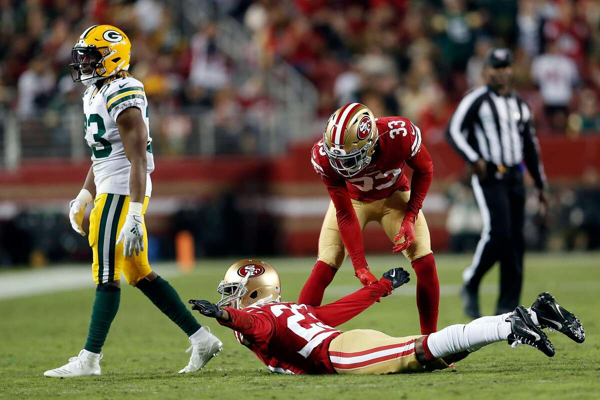 San Francisco 49ers' Ahkello Witherspoon celebrates an incomplete pass intended for Green Bay Packers' Aaron Jones in 2nd quarter during NFL game at Levi's Stadium in Santa Clara, Calif., on Sunday, November 24, 2019.