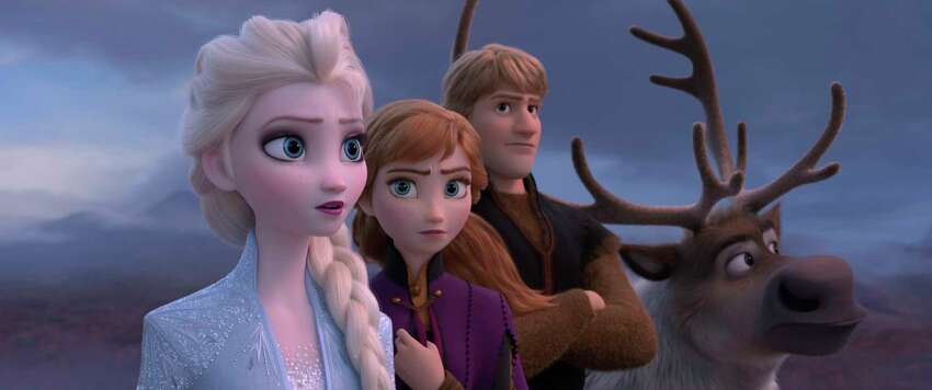 This image released by Disney shows Elsa, voiced by Idina Menzel, from left, Anna, voiced by Kristen Bell, Kristoff, voiced by Jonathan Groff and Sven in a scene from the animated film,