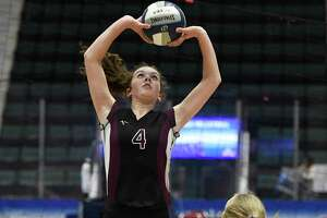 Burnt Hills's Claire Isaksen sets the ball during the Class A State Championship against West Irondequoit on Sunday, Nov. 24, 2019, at Cool Insuring Arena in Glens Falls, N.Y.  (Jenn March, Special to the Times Union)