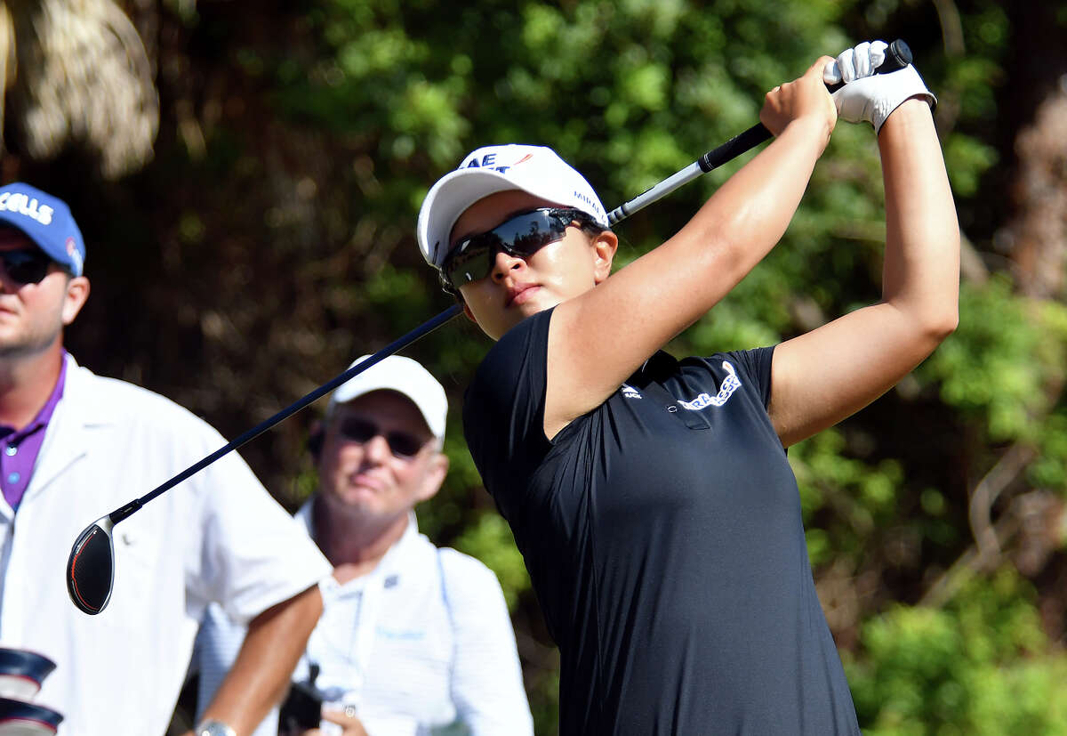 Sei Young Kim tees off on the 7th hole during the 2019 CME Group Tour Championship at the TiburA3n Golf Club in Naples, Fla. Sunday, Nov. 24, 2019. (Chris Tilley/Naples Daily News via AP)