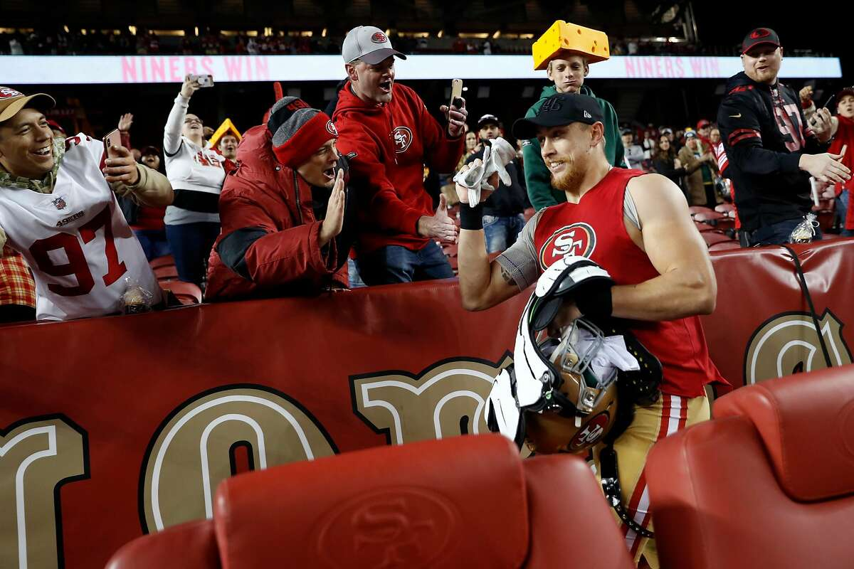 San Francisco 49ers' George Kittle celebrates with fans after Niners' 37-8 win over Green Bay Packers in NFL game at Levi's Stadium in Santa Clara, Calif., on Sunday, November 24, 2019.