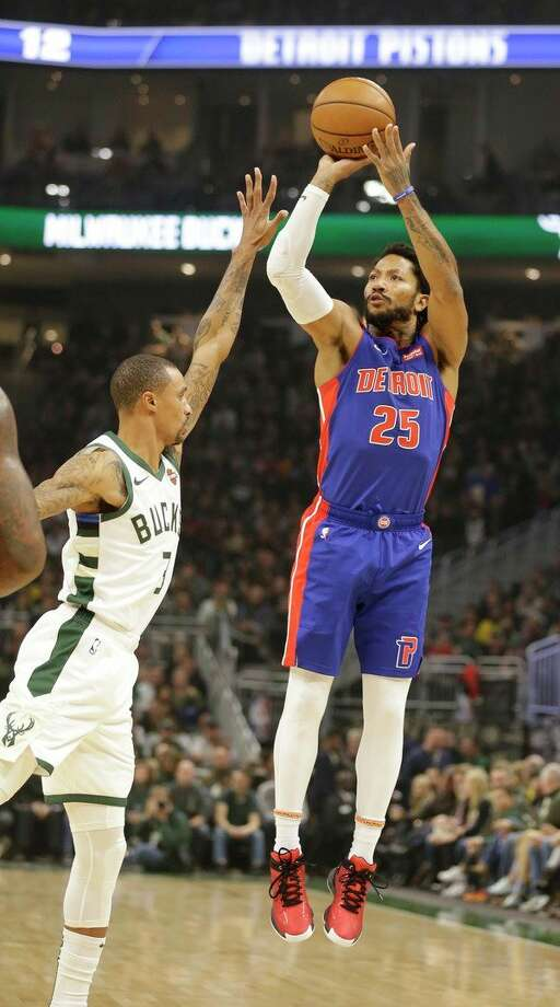Detroit Pistons' Derrick Rose (25) shoots against the Milwaukee Bucks during the first half of an NBA basketball game on Saturday in Milwaukee. (AP Photo/Jeffrey Phelps) / Copyright 2019 The Associated Press. All rights reserved.