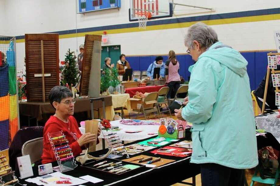 Forty-four vendors were set up in the gymnasium at Onekama Consolidated Schools on Saturday for the craft show that is part of Christmas in Onekama. (Michelle Graves/News Advocate)