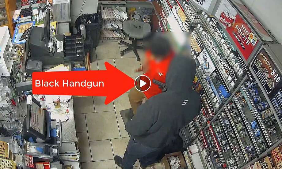 One week after an armed robbery at Springdale Shell on Nov. 17, 2019, police has released a video of the two masked men in the hope of identifying the suspects. Police said said two men wearing masks walked into the 24-hour convenience store at the gas station at about 5:30 a.m. Photo: Stamford Police Department