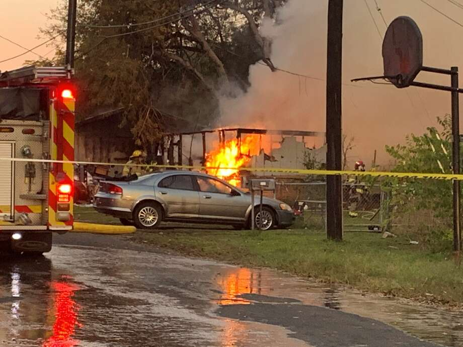 A Northeast Side house was completely destroyed in an early morning fire Monday on the 6400 block of Jenny just before 6:30 a.m. Photo: Taylor Pettaway