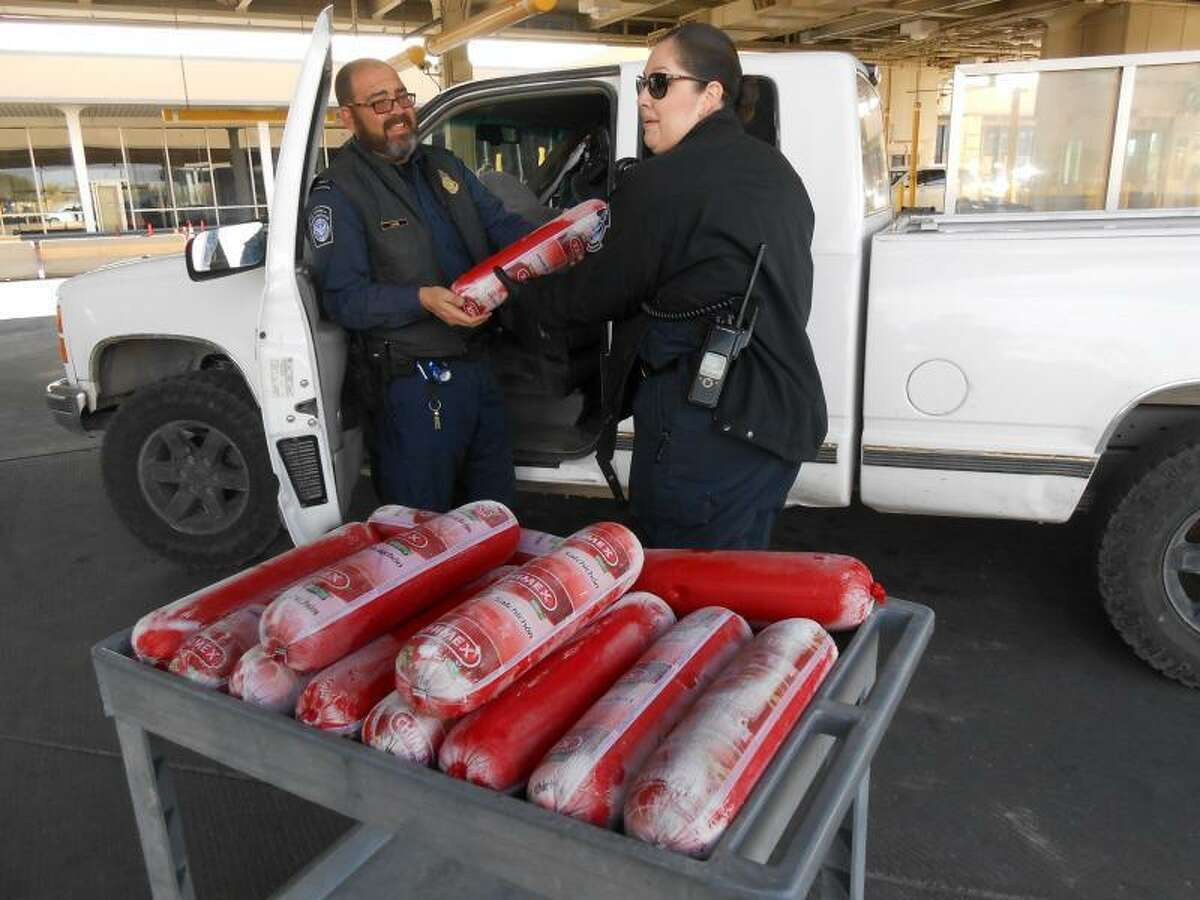Border agents seized 14 rolls of Mexican bologna at a port of entry last week.