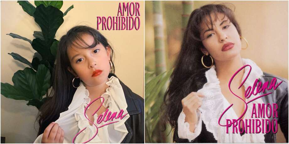 Jules Navarro, 7, makes like Selena on the 'Amor Prohibido' album cover. Photo: Marie Corona
