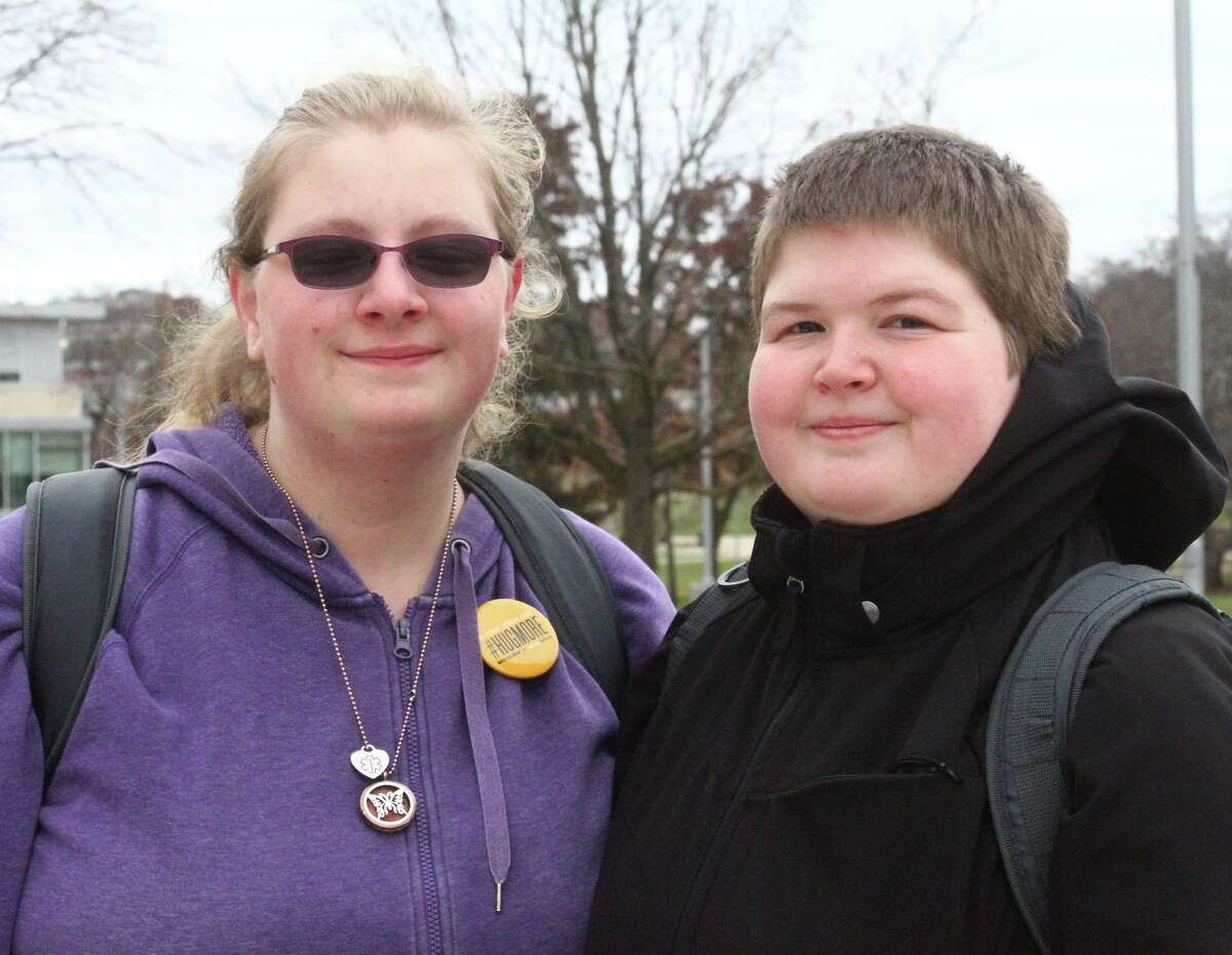 """(Left): """"I'mthankful for my roommate."""" AshleyShultz, of Big Rapids (Right): """"I'mgoing to give the basic answer and sayI'mthankful for my family."""" Courtney Madsen, of Big Rapids"""