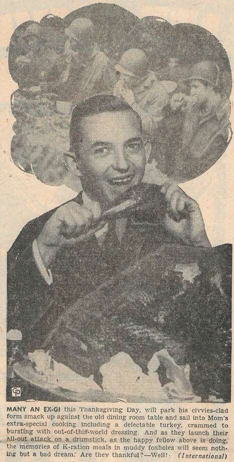 A photo from the Manistee News Advocate's wire service was published on the front page of the November 21, 1945 issue.