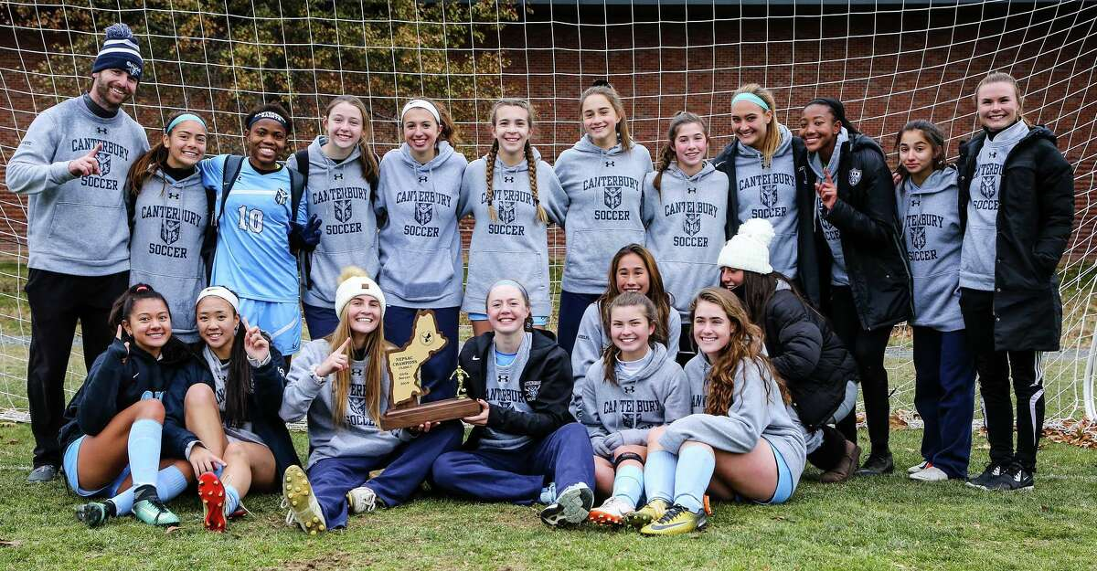 Canterbury School girls' varsity soccer recently won the Class C Title in the New England Private School Athletic Council (NEPSAC) Championship Final. The team is made up of from, left to right, in front, Alessandra King of Middlebury, Samantha Brinker of Schenectady, N.Y., Cecilia Poli of Fairfield, Bella Cotier of New Milford, Lindsey Grandalfo of Wilton, Natasha Burns of Baie d'Urfe, QC, Tori Gioiele of Newtown, Isabella Pizzo, manager, of South Kent, and in back, Head Coach Sam Hargrove, Abigayle King of Middlebury, Joy Okonye of Eastern Region, Ghana, Ella Olcese of Brookfield, Lexah Caraluzzi of Brookfield, Cassidy Rockwood of New Woodstock, N.Y., Sophia Maselli of Burlington, Avery Trach of New Milford, Ashley Regina of Milford, Peyton DeRouen of Southbury, Rhea Khazzaka of Woodbury and Assistant Coach Bryce Wallis.