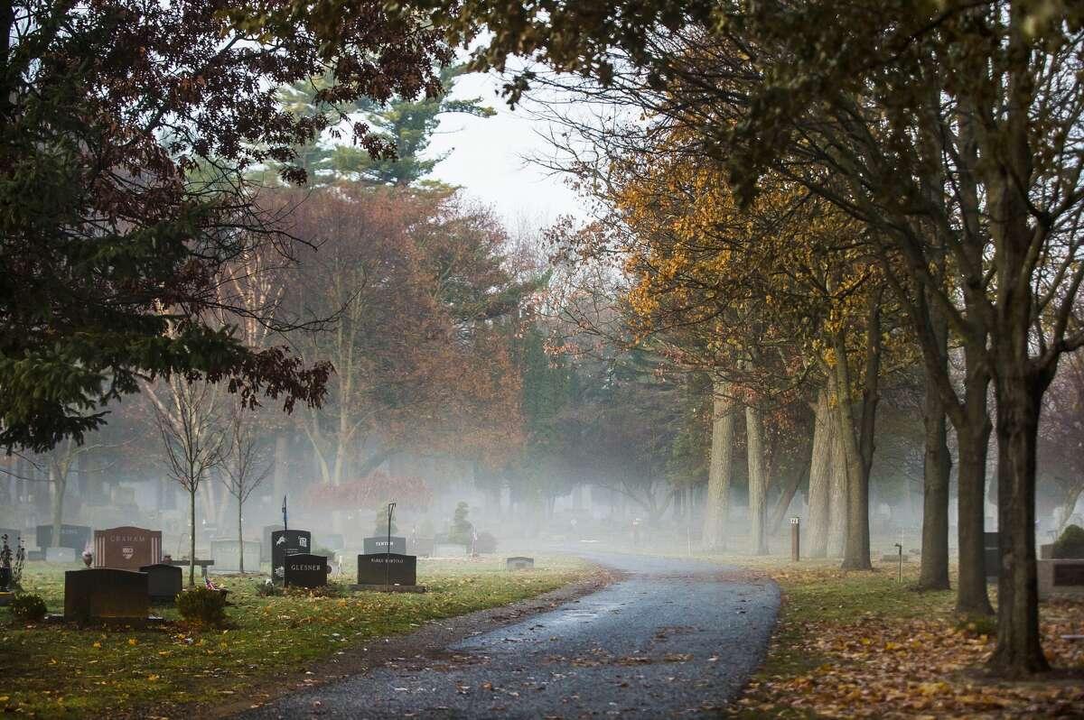 A blanket of fog covers the ground Monday, Nov. 25, 2019 at Midland Cemetery. (Katy Kildee/kkildee@mdn.net)