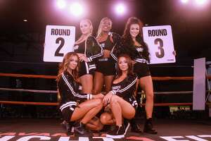 EMBARGOED FOR SOCIETY REPORTER UNTIL DEC. 1 Ring girls at black-tie boxing, benefiting Children's Assessment Center, at the Revaire on November 21, 2019.