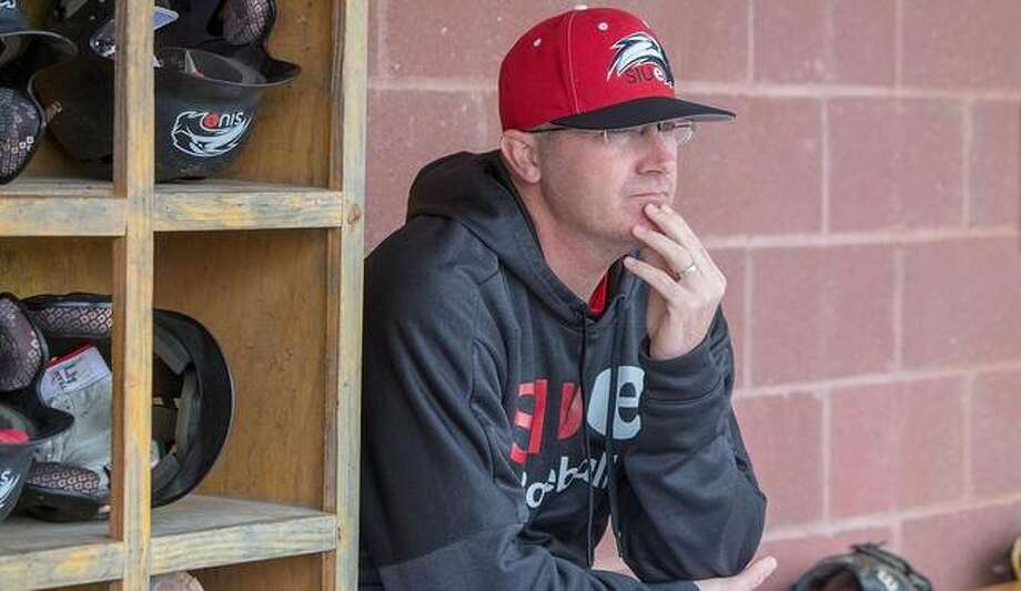 SIUE coach Sean Lyons looks on from the dugout during the regular season last year. Photo: SIUE