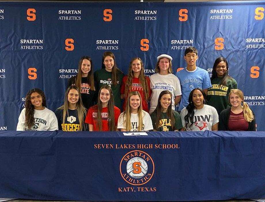Seven Lakes celebrated national signing day Nov. 13 at SLHS, with 15 student-athletes signing National Letters of Intent. Photo: Seven Lakes High School / Seven Lakes High School