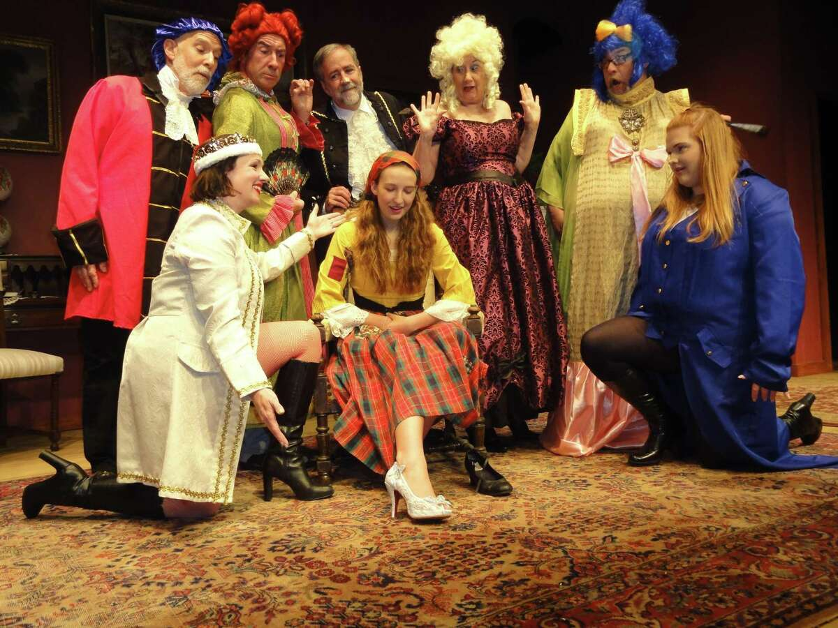 New Canaan resident Fiona Stephens as Cinderella gets her happily ever after when the glass slipper fits. Pictured are: Deborah Runestad, Fiona Stephens and Alexis Taylor; and back row, Jim Chiles, Bob Filipowich, Tim Cronin, Marcia Vinci and Stephen DiRocco.