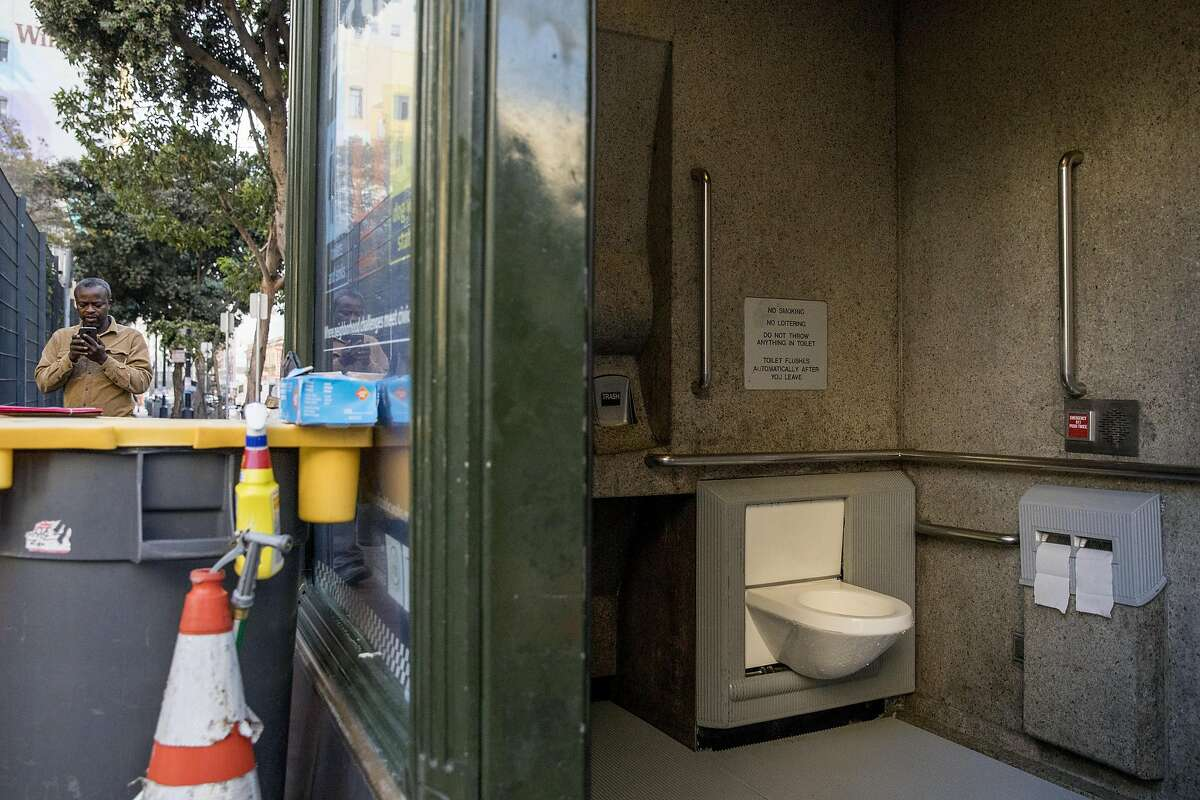 The interior of a 24-hour Pit Stop restroom is seen on the corner of Eddy and Jones streets in the Tenderloin district of San Francisco, Calif. Friday, Nov. 22, 2019.