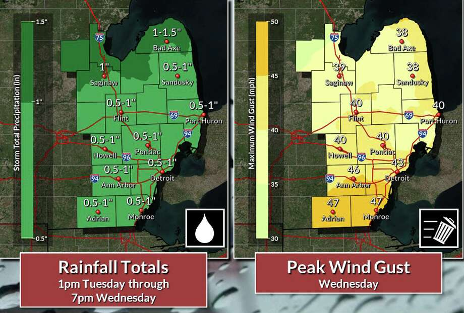 A summer-like weather system in Michigan on Wednesday could cause headaches for holiday travel plans. Photo: National Weather Service Pontiac