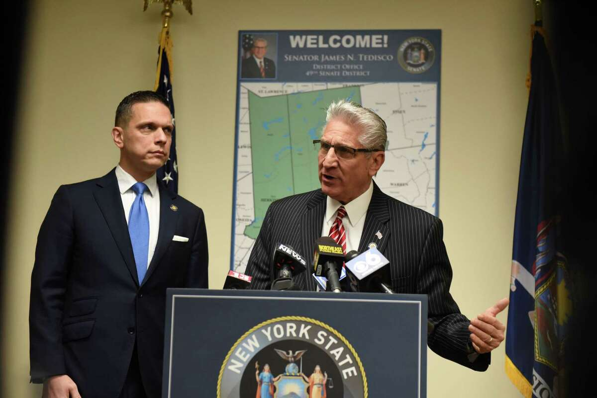 Assemblyman Angelo Santabarbara, left, and Senator James Tedisco speak during a press conference where they proposed bipartisan legislation aimed at giving judges greater oversight over when defendants are given bail on Monday, Nov. 25, 2019, at Sen. Tedisco's office in Clifton Park, N.Y. (Will Waldron/Times Union)