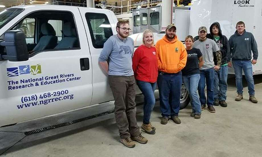 The fall 2019 NGRREC Habitat Strike Team is, from left, Phillip Rathz (L&C student intern), Kyline Downey (student intern), Cody Berry (Strike Team Coordinator), Lindsay Griggs (Senior Strike Team Assistant), Eli Harris (Junior Strike Team Assistant), Ryan Wiita (student intern) and Ross Albert (IDNR's Illinois Recreational Access Program Coordinator and former NGRREC Land Conservation Specialist).