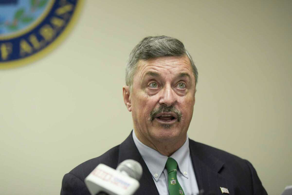 Albany County Comptroller Michael Conners speaks at a press conference at the Albany County office building on Monday, Nov. 25, 2019, in Albany, N.Y. Conners held the press conference to report on his audit of workers who allegedly conducted campaign work on government time. (Paul Buckowski/Times Union)