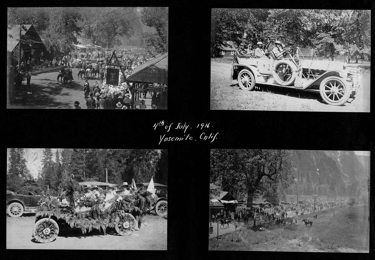 A 4th of July parade in the old Yosemite Village shows the different cars taking part in the parade, considered classics by today's standards.