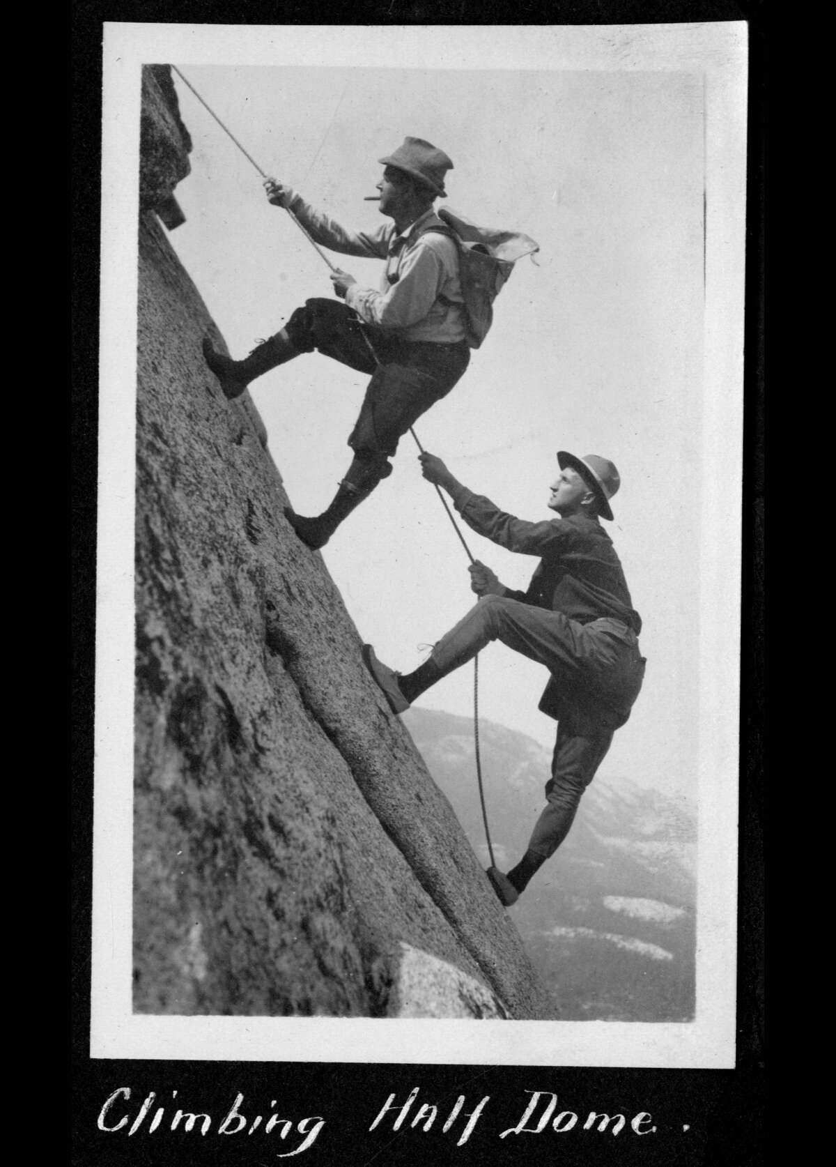 These early climbers on Half Dome were likely attempting this before the installation of climbing cables in 1919, the Yosemite page noted.