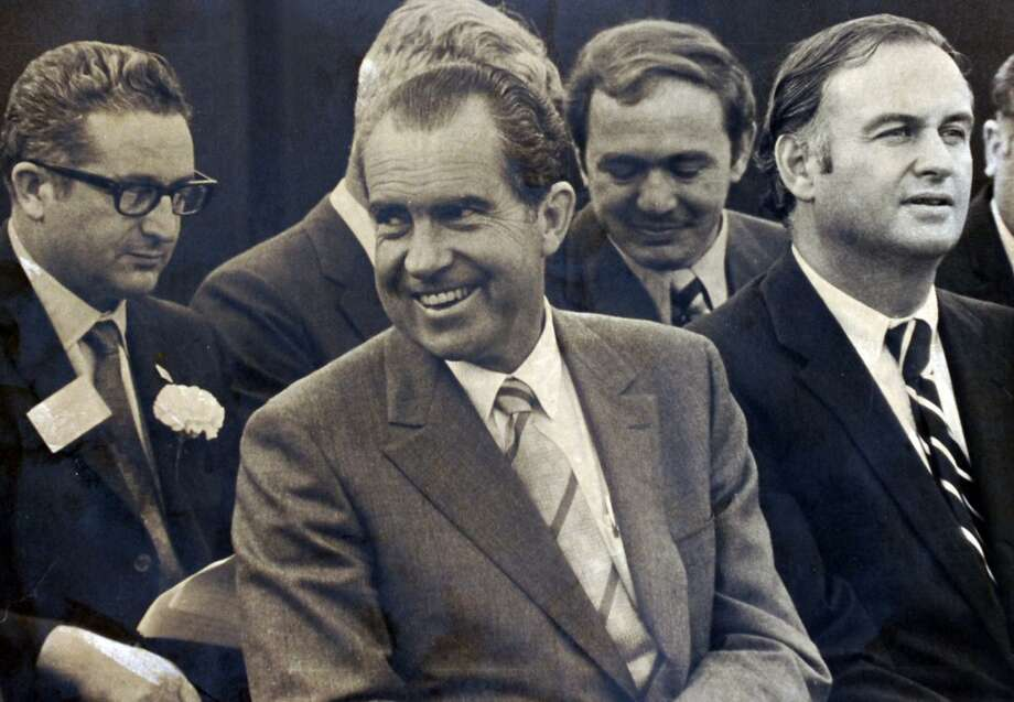 President Richard Nixon visits to the Italian Center in Stamford in October 1970. To the left of Nixon is then-Secretary of State Henry Kissinger and at right is-then-U.S. Sen. Lowell Weicker, Jr., R-Conn. Photo: Hearst Connecticut Media File Photo / Stamford Advocate