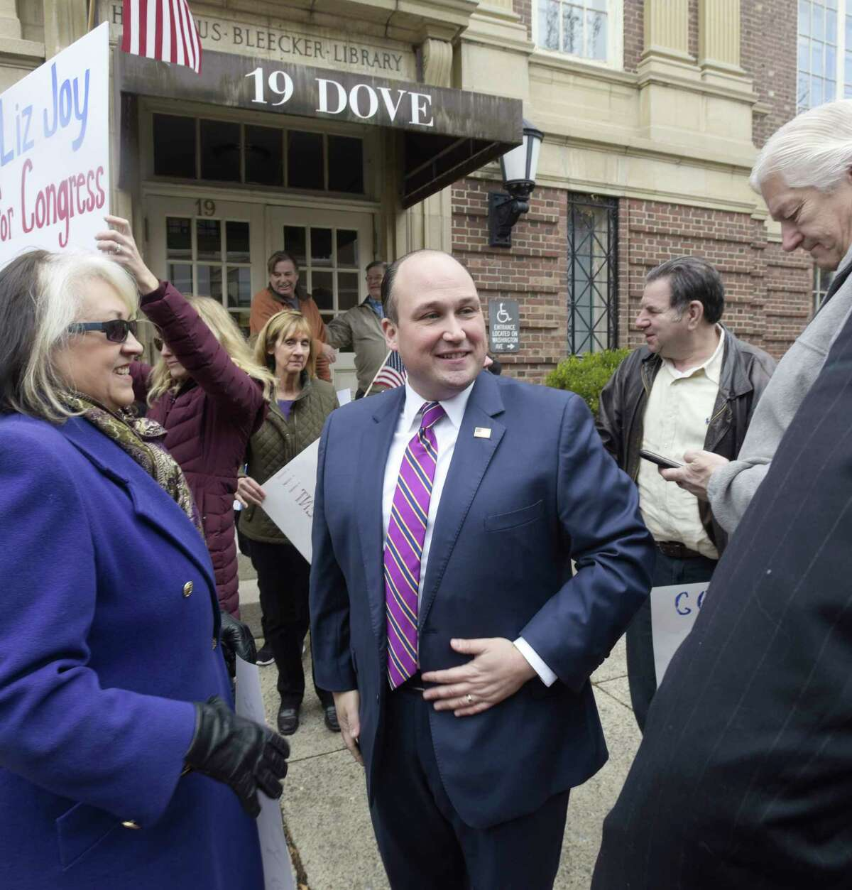 New York Republican Party Chairman Nick Langworthy, XXX, holds a press conference outside the Albany office of Congressman Paul Tonko on Monday, Nov. 25, 2019, in Albany, N.Y. (Paul Buckowski/Times Union)