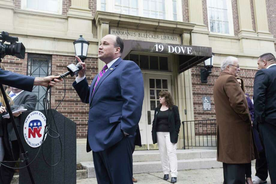 New York Republican Party Chairman Nick Langworthy, talks to members of the media following a press conference he held outside the Albany office of Congressman Paul Tonko on Monday, Nov. 25, 2019, in Albany, N.Y.   (Paul Buckowski/Times Union) Photo: Paul Buckowski, Albany Times Union / (Paul Buckowski/Times Union)
