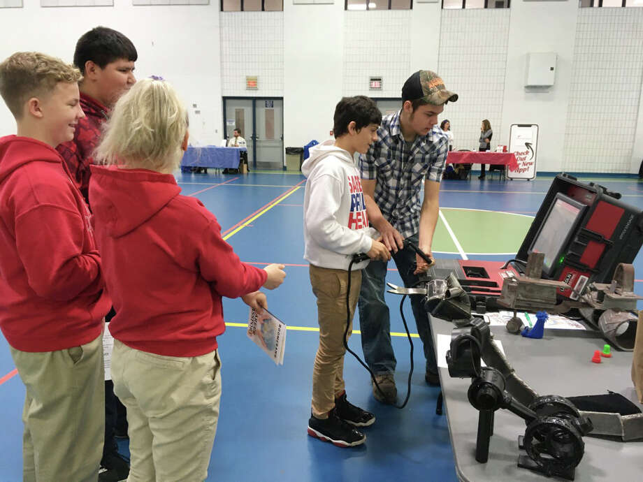 Manistee Catholic Central Middle school students recently visited West Shore Community College for a tour. The students then attended Boomerang — a career event showcasing local career and technical learning opportunities. The students had a great time interacting with local professionals and asking questions. Photo: Courtesy Photo