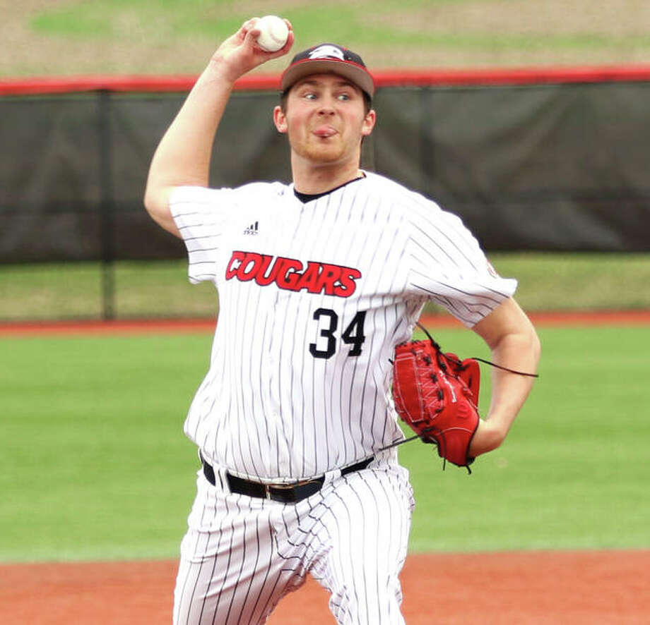 SIUE's Collin Baumgartner, a Southwestern High graduate from Brighton, will return as a junior to head the Cougars pitching staff in a 2020 schedule that opens in February with 11 road games. Photo: Greg Shashack / The Telegraph