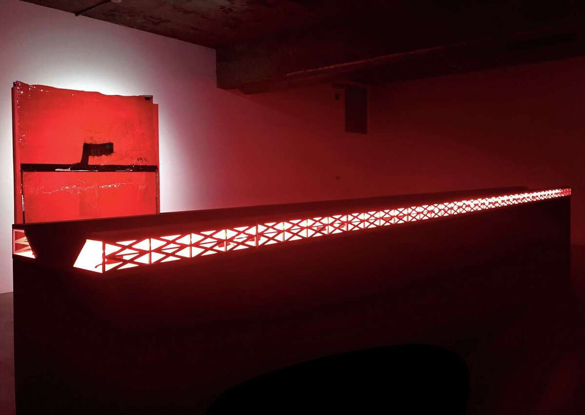 """""""The River,"""" a lighted sculpture, and the painting """"Culebra"""" are among works in Will Boone's show """"The Highway Hex,"""" up through Feb. 16 at the Contemporary Arts Museum Houston."""