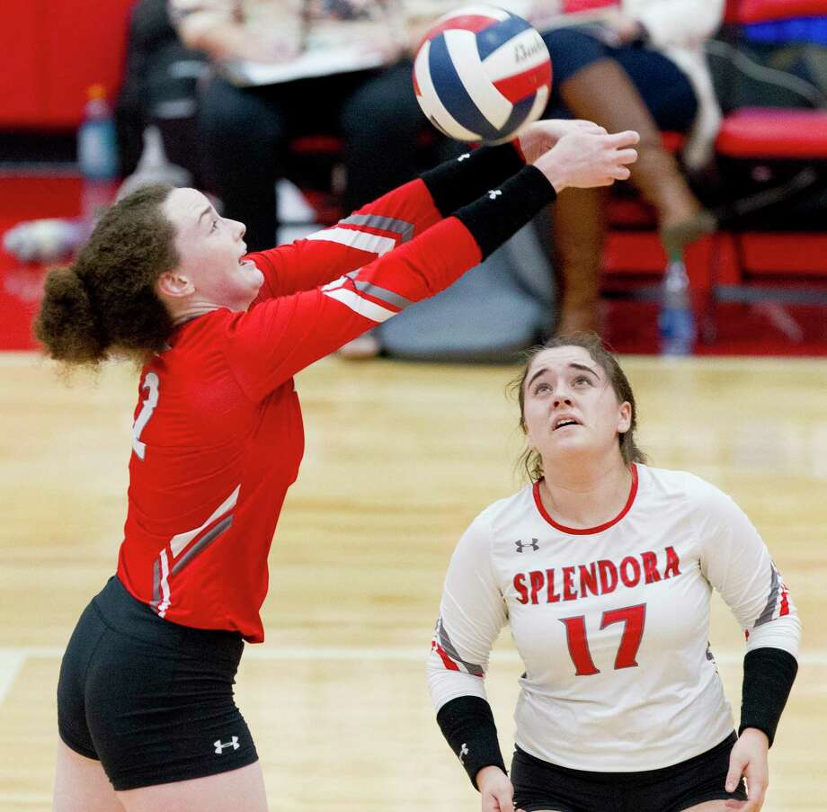 Splendora freshman Falon Buford (2) was selected the District 21-4A Newcomer of the Year while libero Kayla Martin (17) was selected the Defensive Player of the Year. Photo: Jason Fochtman, Houston Chronicle / Staff Photographer / Houston Chronicle