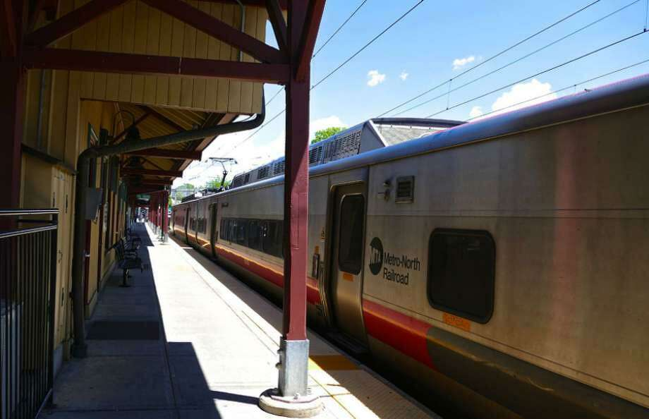 A train sits at the New Canaan train station. Photo: Contributed Photo