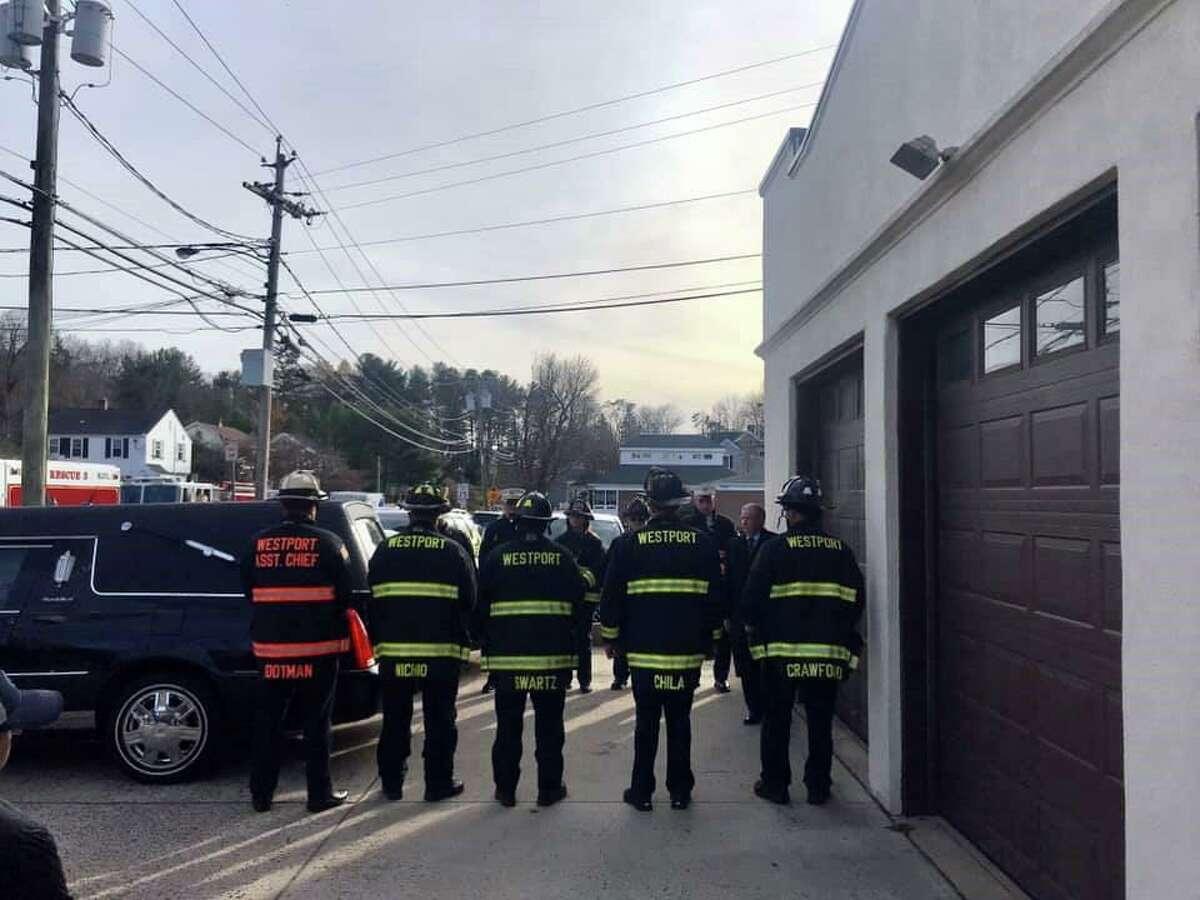 Westport Fire Department paid tribute to fallen Westport Firefighter Turk Aksoy on Nov. 23, 2019 in Westport, Conn.