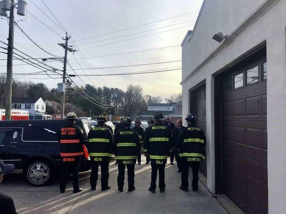 Westport Fire Department paid tribute to fallen Westport Firefighter Turk Aksoy on Nov. 23, 2019 in Westport, Conn. Photo: Westport Fire Department